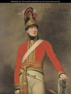 Portrait of an officer of the 1st King's Dragoon Guards, three-quarter-length, wearing the regiment's Waterloo helmet  by (after) Dawe, George