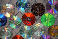 Seen decorating a common gate to a cyclone fence, these CD's wired in place was a fun and shimmering sight to see in the morning, along a neighborhood street.  See the previous two images for more of this decorative fun.