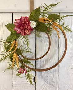 Hoop Wreath, Round Wreath, Farmhouse Wreath, Farmhouse Decor, Embroidery Hoop Wreath, Double Wreath, Front Door Wreath, Year Round Wreath