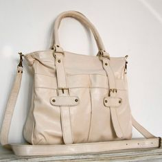 Cream Leather Handbag Purse Tote Shoulder Crossbody by chicleather, $115.00