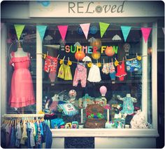 July 2014 ReLoved Boutique, Newark, Summer Window display - featuring paper mache balloons - www.relovedboutique.co.uk