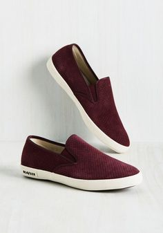 Long Beach Bash Slip-on Sneaker in Burgundy. Head for the coast in these striped sneakers and youll find that every moment spent in their burgundy faux suede is a party! Maroon Shoes, Burgundy Sneakers, Purple Shoes, Slip On Sneakers, Slip On Shoes, Shoes Sneakers, Sock Shoes, Men's Shoes, Vestidos