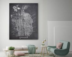 SALT LAKE CITY Utah Canvas Map Art, Chalkboard Graphic City Map, Vintage Canvas Wall Art for Office, Parlor, Living or Bedroom Black And White Wall Art, Vintage Canvas, Round Corner, Map Art, Stretched Canvas Prints, Fine Art Paper, Canvas Wall Art, Chalkboard, Bedroom