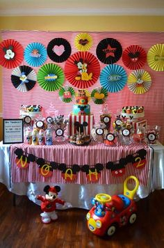Mickey Mouse clubhouse birthday party dessert table for a gender neutral party. Great ideas for Mickey Mouse party decor, food and more. Theme Mickey, Fiesta Mickey Mouse, Mickey Mouse Bday, Mickey Mouse Clubhouse Birthday Party, Mickey Mouse Parties, Mickey Birthday, Mickey Party, 3rd Birthday Parties, 2nd Birthday