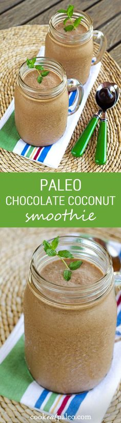 This paleo chocolate coconut smoothie is creamy and chocolaty with no dairy or added sugar. It has just 5 ingredients and as much protein as a couple eggs. ~ cookeatpaleo.com