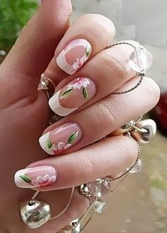 French tips with floral Nail design