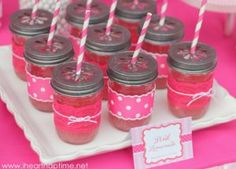 Pretty Pink Mason Jar Cups- how cute for the party!  Just tie on a label for the name.