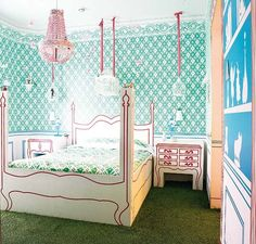green kids' room floor