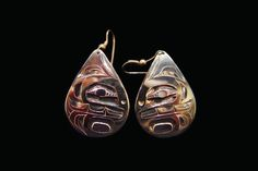 Killerwhale Silver earrings,  Alvin Adkins, Haida. Sterling silver, measuring 1.5 x 1 inches. Northwest Coast First Nations Jewelry.