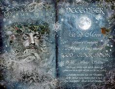 "Book of Shadows Moon: ""December: Reed/Elder Moon,"" by Angie Latham. It makes a lovely Moon page for a Book of Shadows. Tarot, Wolf Moon, Moon Magic, Sabbats, Practical Magic, Winter Solstice, December Solstice, Book Of Shadows, Witchcraft"