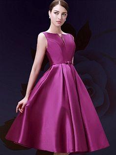 Purple Plunge Neck Bowknot Waist Lacing Back Midi Prom Dress | Choies