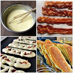 Bacon Pancake Dippers  So easy and insanely, ridiculously yummy.  Don't forget to Share on your page to save recipe for later!  Crisp up your favorite bacon.  Make your favorite pancake batter from scratch or a mix.  Pour strips of batter on a griddle. Top with a piece of cooked bacon. Pour more batter over top to cover. Cook until golden on one side. Flip. Cook until golden on the other side. Serve warm with butter and maple syrup.