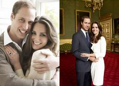One photo shows the couple warmly embracing each other, while another includes a more stately pose with portraits and other decorations from St. James's Palace more clearly displayed in the background. Photos shot by Mario Testino.