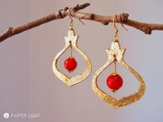 Pomegranade#01 | paper earrings | cardstock, imitation Gold Metal Leaf and red crystal | Paper Leaf
