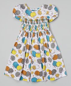 Take a look at this White Apple Print Ruched Dress by Silly Sissy on #zulily today!