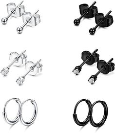 9b678eca6 Amazon.com: Jstyle Stainless Steel 2mm Tiny Stud Earrings for Women Mens  Endless Hoops CZ Balls Cartilage Earrings Set Silver Black: Jewelry