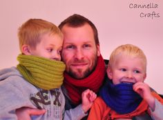 Big and small boys knitted cowls