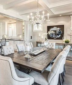 13 adorable and elegant dining room table decor ideas 23 Farmhouse Dining Room Table, Dining Room Table Decor, Elegant Dining Room, Dining Table Design, Dining Room Lighting, Dining Room Furniture, Farmhouse Dining Rooms, Dining Room Decorating, Formal Dining Rooms