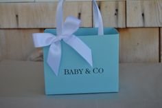 Blue party favor bags for your baby shower by steppnout on Etsy