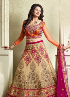 Sensible colors and excellent designs and romantic moods are reflected with an alluring style. Steal the hearts away with this beige georgette a line lehenga choli. The embroidered, patch border, resh...