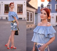 Anaivilo B - Zara Retro Skirt, Lightinthebox Off Shoulder Top - Romantic ruffles