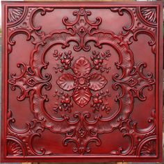 faux tin finishes artistic style antique red ceiling tiles embossed Photography Background panels boards by Fauxpaintceilingtile on Etsy Vitromosaico Ideas, Yard Ideas, Faux Tin Ceiling Tiles, Red Tiles, Decorative Wall Panels, Ceiling Panels, Plank Ceiling, Ceiling Decor, Ceiling Design