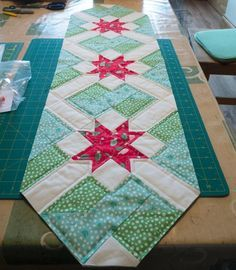 Christmas Patchwork Tablerunner Traditional Green Red And Cream Holly Poinsettias Xmas Handmade Quilted Table Runner