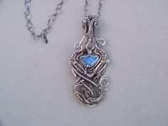 Large Opal Necklace Heady Wire Wrapped in .925 Sterling Silver