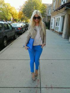 Blue pants & nude heels