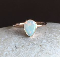 Solid Rose Gold Opal Ring Opal Engagement Ring Natural by Belesas