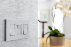 Update your switches with our sleek screwless wall plates and rocker slider dimmer switch. Wall, House Built, Interior Lighting, Dimmable Led, Dimmer, Plates On Wall, Light Switch, Led Lights, Rocker