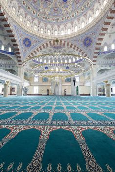 Beautiful interior architecture of a Fatih Sultan Mehmet Mosque |, Istanbul, Turkey