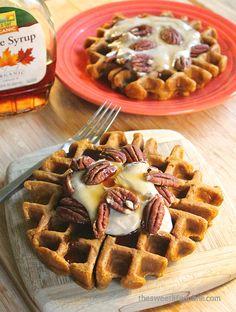 Vegan Pumpkin Waffles w/ Cashew Cream