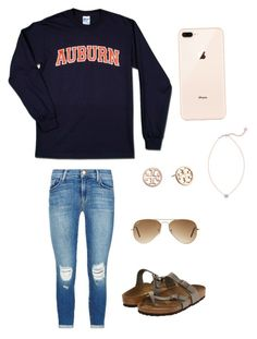 """Auburn prep"" by lizakappil on Polyvore featuring J Brand, Birkenstock, Kendra Scott, Tory Burch and Ray-Ban"
