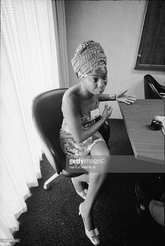 During the NARA (National Association of Radio Announcers) convention, American musician <a gi-track='captionPersonalityLinkClicked' href=/galleries/search?phrase=Nina+Simone&family=editorial&specificpeople=213558 ng-click='$event.stopPropagation()'>Nina Simone</a> (born Eunice Waymon, 1933 - 2003) sits at a table in the Regency Hyatt Hotel, Atlanta, Georgia, August 9 through 13, 1967.