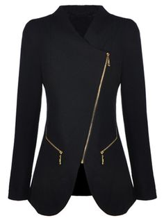 Black Long Sleeve Oblique Zipper Pockets Coat
