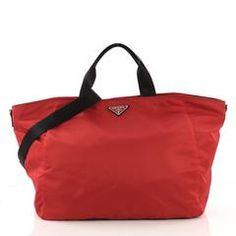f24682081d6688 Prada Vela Convertible Tote Tessuto Large Red 389617 Gym Bag, Prada,  Convertible, Duffle