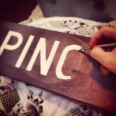 diy signs. Transfer letters on wood by using pen to imprint outline...clever and EASY!
