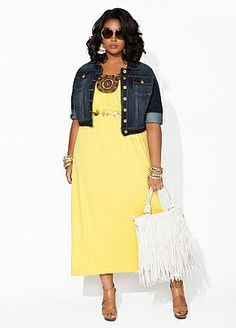 Plus Size yellow dress with a plus size denim jacket.