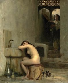 """""""Repos au bain"""" by Theodore Jacques Ralli - Greek painter, School of French Academy, orientalist Pablo Picasso, Oriental, Greek Art, Traditional Paintings, Paris, Our Lady, Figure Painting, Erotic Art, Figurative Art"""