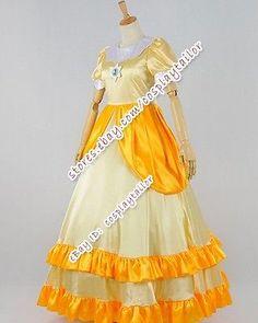 Super Mario Bros. Cosplay Princess Daisy Costume Dress Deluxe Luxury Dress New