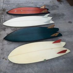 """FISH RESEARCH 4'10"""" T.MARTIN 2002 5'3"""" # 29 PERSONAL SHAPE 2009 5'7"""" # 473 JUSTIN ADAMS N I MADE IT 5'4"""" # 624 PERSONAL SHAPE 2012"""