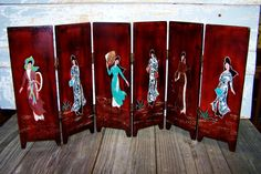 Japanese Geisha Wooden Hanging Screens 4 Piece Set