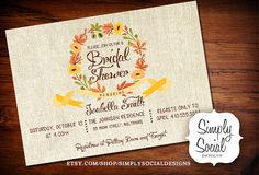 Autumn Fall Bridal Shower Baby Shower Invitation Burlap Leaves Ribbon PRINTABLE