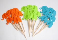 24 Grey and Light Pink Elephants Cupcake Toppers, Food Picks £2.90
