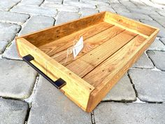 Wood Tray Wood Tray with Handles Hardwood Tray Rustic Tray Modern Rustic Tray Serving Trays With Handles, Serving Tray Wood, Wood Tray, Serving Plates, Rustic Art, Modern Rustic, Reclaimed Wood Wall Art, Wood Mosaic, Wood Pieces