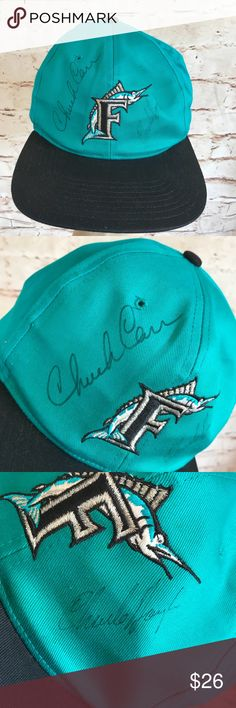 Florida Marlins Autographed Baseball Hat. All my items are clean and in New or Like New Condition. If you see something you like, please make an offer, if you have a question, please ask away. My home is Smoke Free and Pet Friendly.  Like it and I will send you a Private Offer or you can make a bundle and send me an offer, I may except or I may make a counteroffer. 😃 Accessories Hats