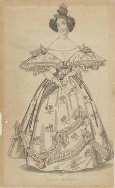 Ball Dress  1830-1840  Artist/s name UNKNOWN   Medium hand-coloured engraving Measurements Accession Number 2466.1-3 Credit Line National Gallery of Victoria, Melbourne
