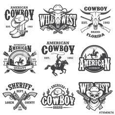 Stock Image: Set of vintage cowboy emblems Anniversaire Cow-boy, Western Logo, Arte Equina, Wild West Theme, Vintage Silhouette, Badge Logo, Monochrome Fashion, 3d Laser, Vintage Graphic Design