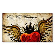 Vintage Urban Tattoo Winged Heart Business Cards. I love this design! It is available for customization or ready to buy as is. All you need is to add your business info to this template then place the order. It will ship within 24 hours. Just click the image to make your own!